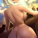 1girl, ass, asymmetrical hair, back, breasts, cloud