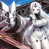1girl, abyssal ship, blue sky, breasts, claws, colored skin