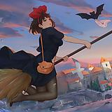 1girl, animal, bag, bare arms, bat, bird, black cat
