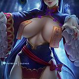 1girl, alternate costume, bangs, breasts, chinese clothes