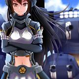1girl, black gloves, black hair, blue sky, cannon, cloud