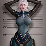 1girl, arms up, blue eyes, bodysuit, breasts, cyborg