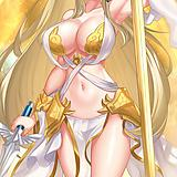 1girl, arm up, armor, armpits, bare legs, bare shoulders