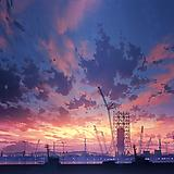 blue sky, blurry, blurry foreground, cityscape, cloud