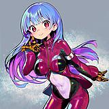 1girl, blue hair, bodysuit, breasts, closed mouth, covered navel